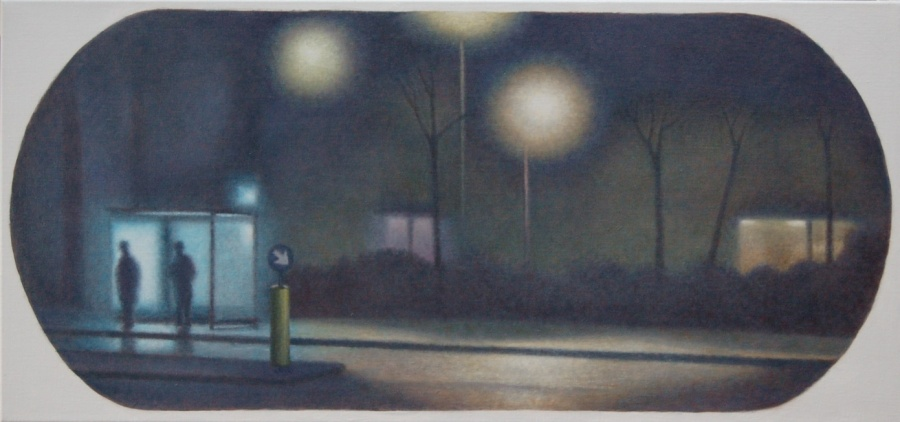 Bus stop, Alkyd and oil paint on linen, 40 x 85 cm.